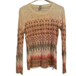 Prana Long Sleeve Boat Neck Tee Pink Brown Print